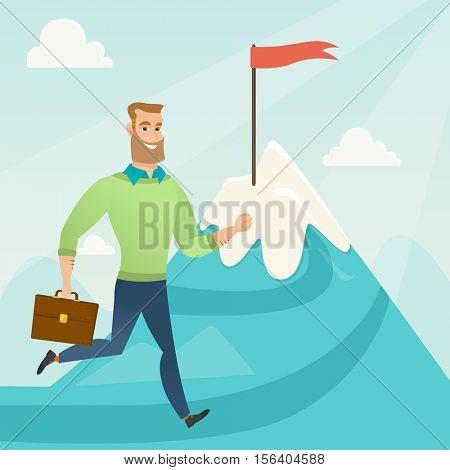 Businessman running to flag on the peak of mountain symbolizing business goal. Businessman standing on road leading to his goal. Business goal concept. Vector flat design illustration. Square layout.