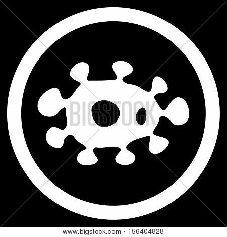 Virus vector rounded icon. Image style is a flat icon symbol inside a circle, white color, black background.