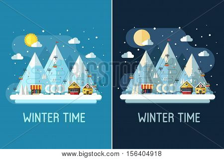Winter travel landscape with ski resort by day and night. Winter posters with snow mountains, chalet, funiculars and ski slopes. Winter holidays backgrounds or vertical banners in flat design.