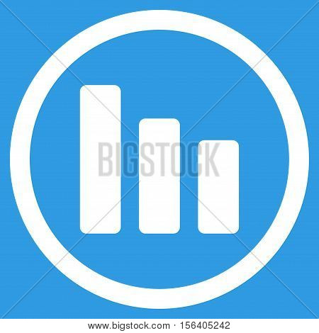 Bar Chart Decrease vector rounded icon. Image style is a flat icon symbol inside a circle, white color, blue background.