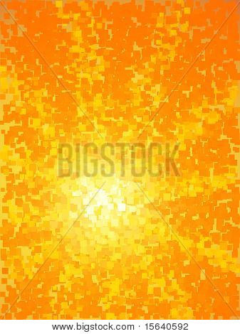 Abstract yellow and orange light burst vertical  square mosaic vector background.