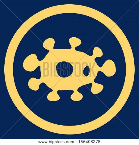 Virus vector rounded icon. Image style is a flat icon symbol inside a circle, yellow color, blue background.