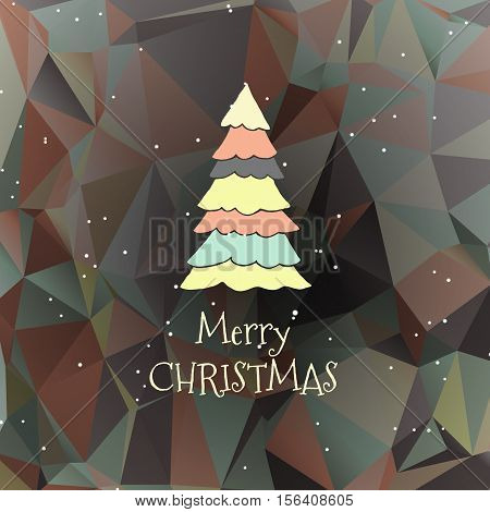 Flat christmas tree icon with triangles. Christmas background. Texture for New Year holidays and Christmas. Colorful background with simple stylized christmas tree.