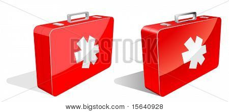 First aid kit isolated on white in two variants - with and without gradients.
