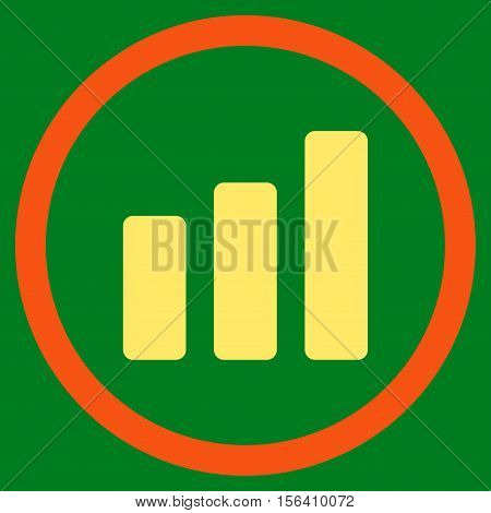 Bar Chart Increase vector bicolor rounded icon. Image style is a flat icon symbol inside a circle, orange and yellow colors, green background.