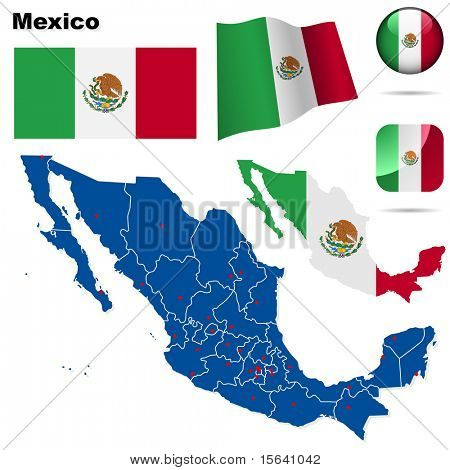 Mexico vector set. Detailed country shape with region borders, flags and icons isolated on white background.