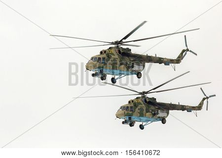 Omsk, Russia - March 19, 2016: Mi-8 helicopter participant Airshow. NATO reporting name: Hip