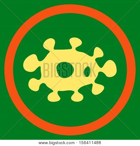 Virus vector bicolor rounded icon. Image style is a flat icon symbol inside a circle, orange and yellow colors, green background.