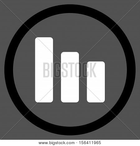 Bar Chart Decrease vector bicolor rounded icon. Image style is a flat icon symbol inside a circle, black and white colors, gray background.