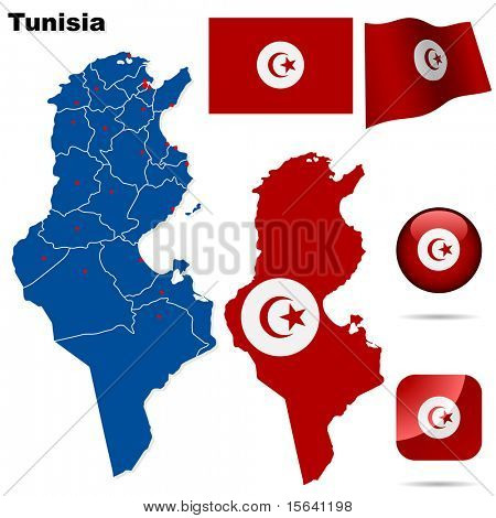 Tunisia vector set. Detailed country shape with region borders, flags and icons isolated on white background.