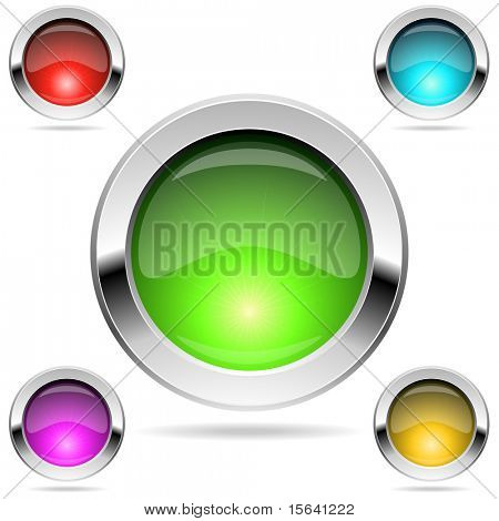 Shiny round color buttons with chrome frame isolated on white. EPS10 file.