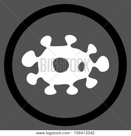 Virus vector bicolor rounded icon. Image style is a flat icon symbol inside a circle, black and white colors, gray background.