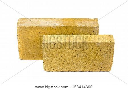 Two special bricks for furnace fireplace isolated on white background