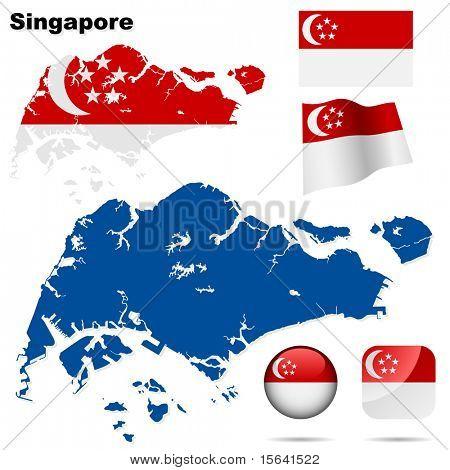 Conjunto de vectores de Singapur. Forma detallada del país con las fronteras de la región, banderas e iconos aislados en blanco