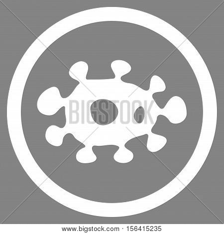 Virus vector rounded icon. Image style is a flat icon symbol inside a circle, white color, gray background.