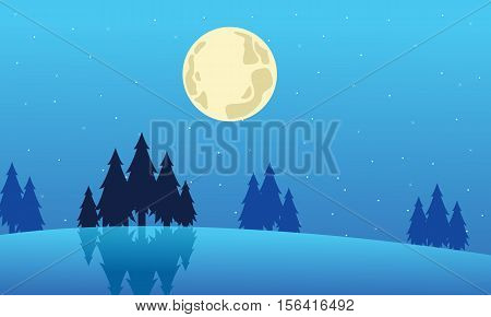 Landscape winter Christmas collection stock vector illustration