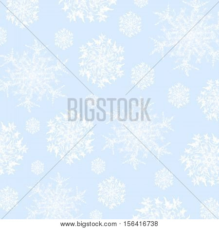 Geometric light background. Abstract snowflakes pattern white on pastel blue, delicate and dreamy.