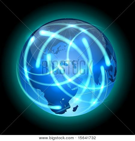 Communication concept. Globe with light traces rotating around.