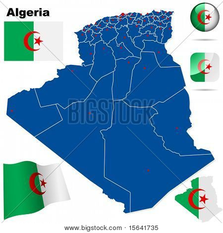 Algeria vector set. Detailed country shape with region borders, flags and icons isolated on white background.