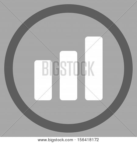 Bar Chart Increase vector bicolor rounded icon. Image style is a flat icon symbol inside a circle, dark gray and white colors, silver background.