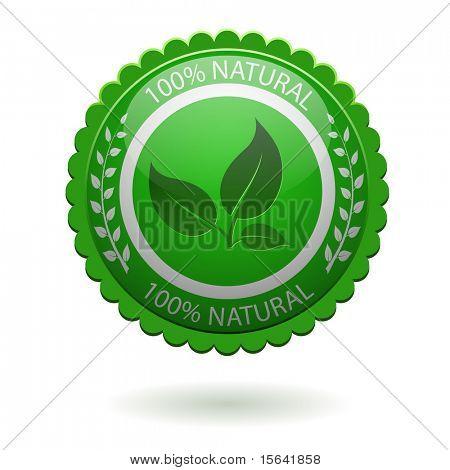 100% natural etiqueta verde aislada en blanco. EPS10 archivo.