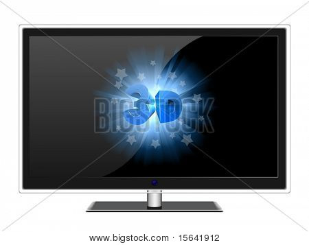 Wide screen modern TV with 3D sign isolated on white.