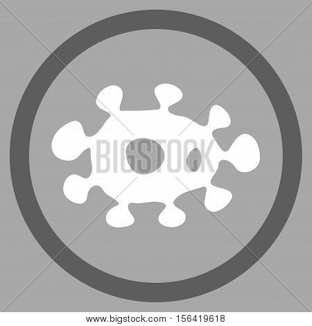 Virus vector bicolor rounded icon. Image style is a flat icon symbol inside a circle, dark gray and white colors, silver background.