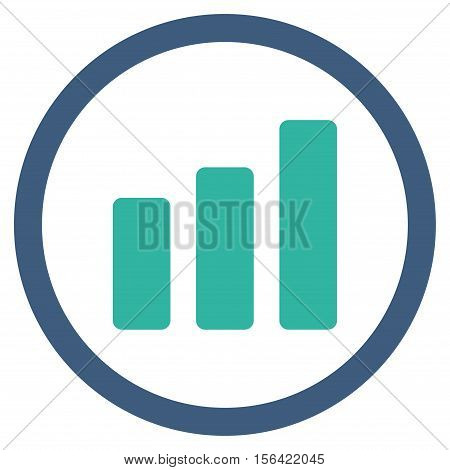 Bar Chart Increase vector bicolor rounded icon. Image style is a flat icon symbol inside a circle, cobalt and cyan colors, white background.