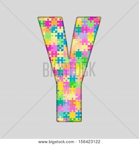 Vector Puzzle Jigsaw Letter - Y. Gigsaw made of Colored Puzzle Piece - Vector Illustration. Puzzle Font. Creative Toy Alphabet. Web Design and Graphic Vector.