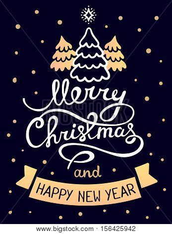 Vector Illustration Of Golden Color Christmas Three Fir Trees With White Handwritten Text Merry Chri