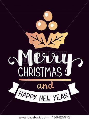 Vector Illustration Of Golden Color Christmas Mistletoe With Handwritten Text Merry Christmas And Ha
