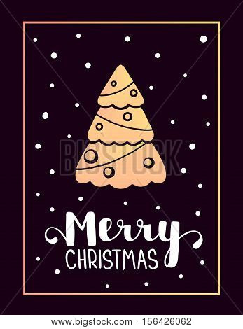 Vector Illustration Of Golden Color Christmas Fir Tree With White Handwritten Text Merry Christmas A