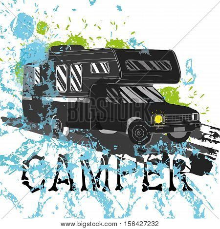 Vector illustration of isolated watercolor, spot and spray effect Camper, car Recreation transport, Vehicles Camper Vans Caravans Icons. Motor home for textile