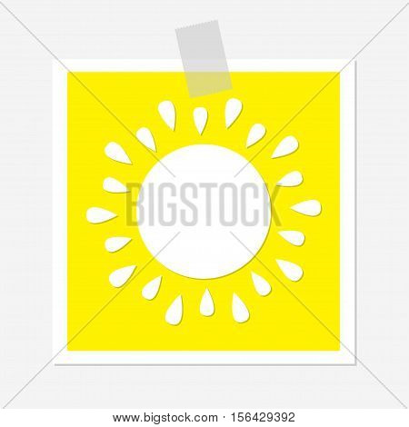 Sun shining icon. Cute cartoon image. Greeting card. Adhesive transparency tape Hello summer. Yellow background. Baby collection. Flat design Vector