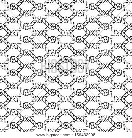 Marine rope knot seamless vector pattern. Nautical design. Navy illustration. Ocean wallpaper. Stripe elements. Geometric scrapbook print. Paper graphic cover. Cord background. Sailor simple backdrop