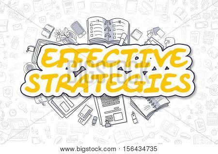 Cartoon Illustration of Effective Strategies, Surrounded by Stationery. Business Concept for Web Banners, Printed Materials.