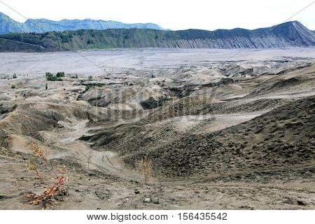 Desert Sand Dune Mountain Landscape of Bromo Volcano crater, East Java Island Indonesia