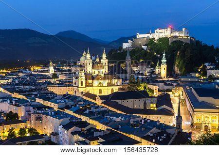 Salzburg Austria, Beautiful view of the historic city of Salzburger Land in Austria at night