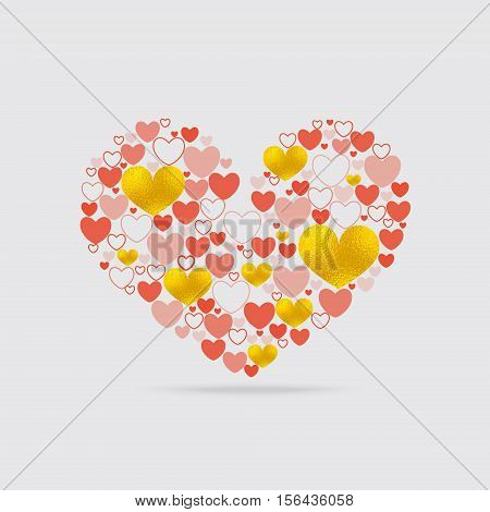 Light Heart Shape with Numerous Hearts of Different Form Inside. Include Golden Texture Hearts, Contour Hearts, Hearts with Fill of Various Opacity. Vector EPS 10