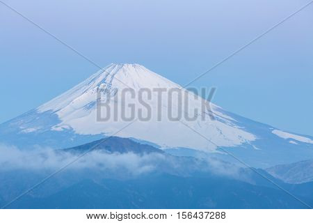 Mountain Fuji in winter sunrise at Hakone Lake