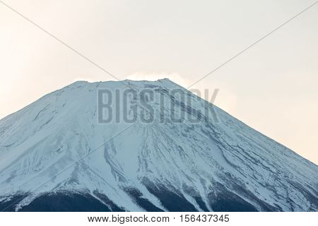 Mountain Fuji Diamond sunrise in winter