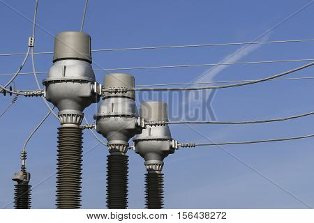 Part of electric power plant transformer station ceramic isolation