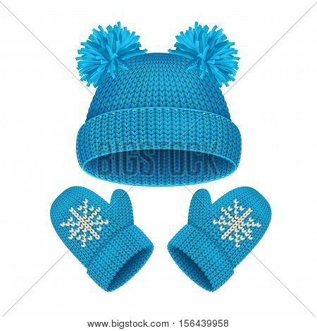 Blue Hat and Mitten Set Winter Accessories Warm Clothing. Vector illustration