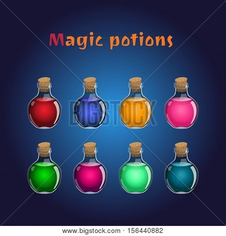 Set if magic potions. Collections of elixirs for the game interface. Vector illustration