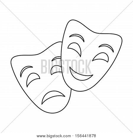 Theater masks icon in outline style isolated on white background. Theater symbol vector illustration