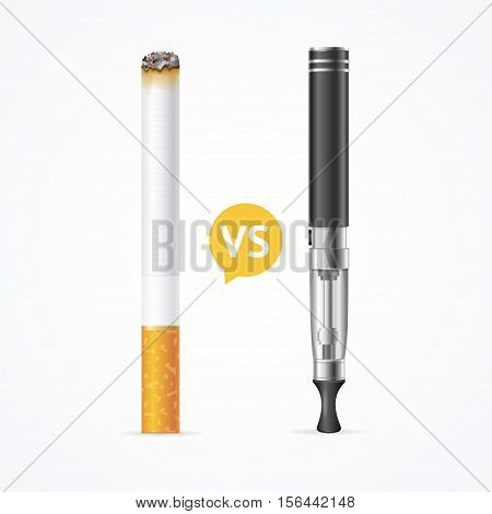 Smoking vs Vaping. Electronic Cigarette or Vaporizer Device and Tobacco Cigar. Vector illustration