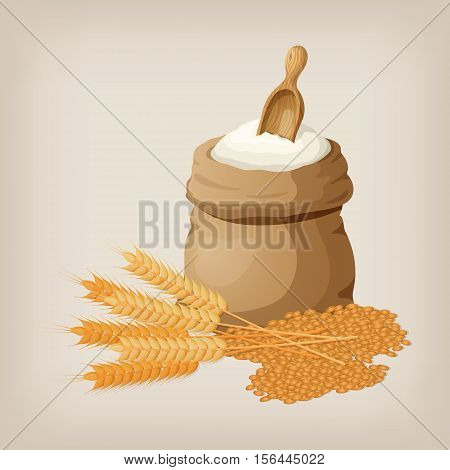 A bag of flour and a shovel, wheat, ears of wheat. Vector illustration.