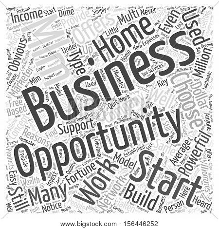 Work At Home Business Opportunity MLM word cloud concept