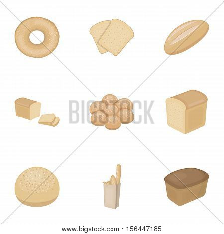 Bread set icons in cartoon style. Big collection of bread vector symbol stock