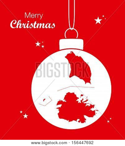 Merry Christmas Map Antigua and Barbuda illustration high res